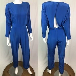 Vintage 80s 90s Pleated Open Back Pockets Jumpsuit